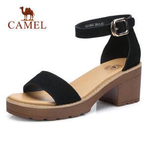 Camel/骆驼女鞋2018夏新款防水台粗跟凉鞋包跟学生韩版百搭罗马休闲鞋子