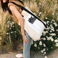 手提包女韩版时尚帆布包文艺单肩包学院风简约大包包休闲购物袋潮