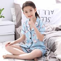 儿童睡衣夏季女童短袖短裤薄款空调服小孩女孩宝宝家居服套装