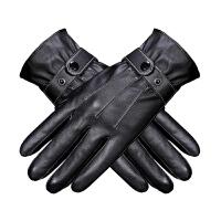 皮手套男冬季摩托车保暖骑行骑车防风防水加绒加厚 黑色 PU三道筋 均码