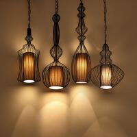 新中式铁艺装饰笼吊灯餐厅火锅店茶楼创意灯咖啡吧台灯笼小吊灯