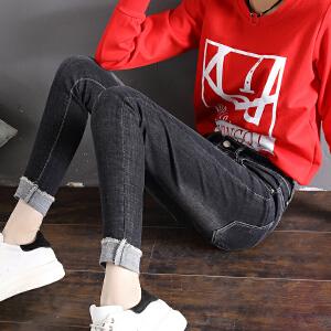 Freefeel2018春夏新款女装韩版时尚弹力小脚裤铅笔裤