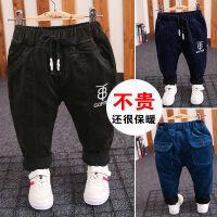 男童宝宝加绒裤子1外穿2加厚3高腰4岁灯芯绒加棉儿童工装可开裆裤