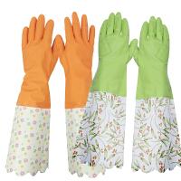 克林莱 加厚植绒长袖手套丁腈橡胶手套j 家务手套洗碗手套大号中号手套