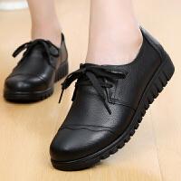 秋季真皮系带妈妈鞋软底女单鞋圆头中老年女鞋皮鞋平底老人奶奶鞋SN2766 黑色