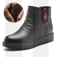 ����鞋女冬保暖加�q中老年女鞋�底中年短靴舒�m平底防滑老人棉鞋SN3927