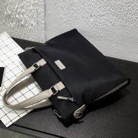 男包手提包男士包包商务横款休闲韩版牛津布单肩斜挎包公文包背包 黑色