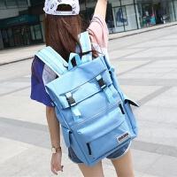 韩国双肩包女韩版大容量旅行背包书包中学生男户外休闲运动电脑包 浅蓝色 折叠开口