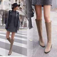 网红瘦瘦靴长筒靴粗跟真皮长靴女不过膝小个子靴子女冬中长款SN6063 浅棕色 单里 33 全真皮