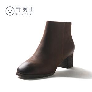 青婉田2018新款复古真皮女鞋中高跟春季女靴休闲百搭粗跟短靴子