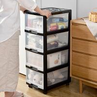 收�{箱塑料衣服置物柜透明整理箱�k公室�ξ锍�鲜蕉�邮占{柜 透明-黑色框