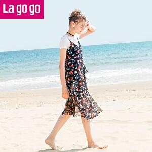 【清仓3折价149.7】Lagogo2019夏季新款时尚吊带裙短袖T恤两件套中长款连衣裙 甜美女HALL804A20