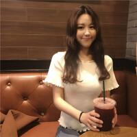 T恤女短袖韩版宽松学生chic学院风荷叶边喇叭袖木耳边打底衫上衣