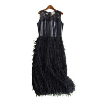 欧美连衣裙秋冬新款女装时尚拼接羊皮圆领中长款背心裙16348 黑色