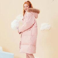 【全场2件2.5折,到手价:324.8】美特斯邦威羽绒服女冬装新款时尚长款学生chic宽松毛领外套潮