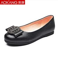 奥康女鞋春季新款单鞋豆豆鞋女真皮平底鞋低跟妈妈鞋中年女鞋