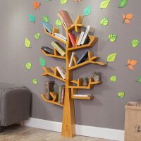美式创意实木艺术树形墙壁落地书架置物架客厅卧室背景装饰架儿童