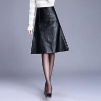 秋冬新款皮裙半身裙高腰大码显瘦口袋a字裙黑色皮中长裙子女裙