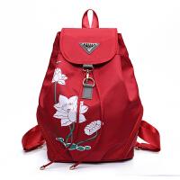 中国风尼龙女背包帆布旅行包简约学院风书包印花双肩包女士包包潮 红色
