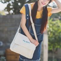 学生女包可爱刺绣纯色字母单肩斜跨帆布包文艺复古糖果多色休闲包
