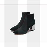 短靴女秋冬2018新款针织弹力袜靴瘦瘦靴短筒粗跟高跟尖头裸靴百搭SN0911