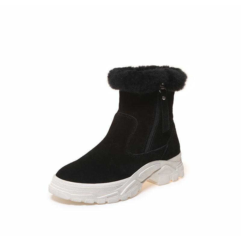 雪地靴2018新款女鞋冬季加绒棉鞋平底韩版百搭毛毛马丁松糕短靴子