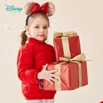 【3件2.6折到手价:99.1】迪士尼Disney童装 女宝宝轻盈保暖羽绒服冬季新品米妮印花外套甜美可爱上衣194S1