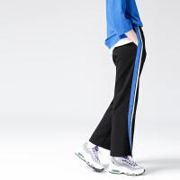 初语 2018春装新款  撞色织带拼接宽松开叉休闲裤女运动裤阔腿裤