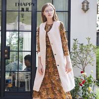 海贝2018秋冬季新款女圆领羊羔毛加厚保暖中长款时尚马夹背心外套