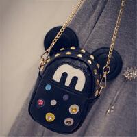 韩版迷你铆钉米奇可爱小包手机包链条单肩小包包斜挎女包潮s6 链条版黑色#4244-TT