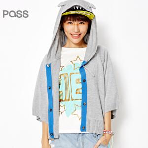 【不退不换】PASS女装春装新款 中袖连帽开衫俏皮宽松短款针织衫女外套6610313001