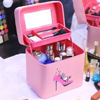 化妆包大容量大号便携韩国简约多功能双层手提化妆箱洗漱品收纳盒