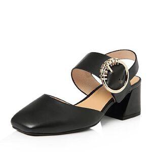 Tata/他她2018春专柜同款牛皮通勤一字带粗高跟女皮凉鞋FFX01AH8
