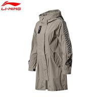 李宁女式风衣LNG女子宽松图案印花裙式下摆连帽长裤运动休闲外套