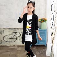 童装女童秋装套装2018新款韩版潮中大童时髦衣服大女孩洋气三件套 黑色 黑外套白T黑裤