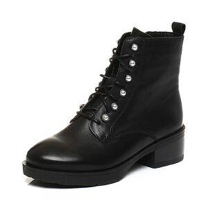 Tata/他她2017冬黑色牛皮珍珠绑带马丁靴方跟女短靴D1600DD7