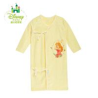 迪士尼Disney童装 条纹新生儿宝宝纯棉睡袍睡衣绑带长袍上衣153S687