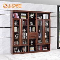 北欧篱笆实木书柜五门整体大书柜书架组合现代中式书橱利来国际ag手机版简约
