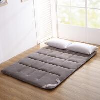 榻榻米床垫地垫可折叠睡垫1.5m床铺床褥子 珊瑚绒垫子 灰色 【法兰绒面料】