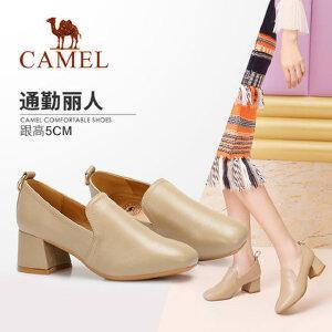 Camel/骆驼女鞋 2018秋季新品复古方跟大气知性高跟优雅通勤单鞋
