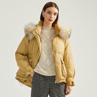 商场同款迪赛尼斯2020冬季新款白鸭绒短款时尚加厚连帽羽绒服女士