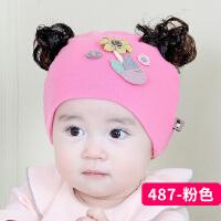 假发帽子女宝宝可爱新生儿帽子薄款公主帽春秋婴儿帽0-3-6-个月8034 均码 0-个月