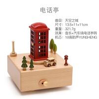 旋转木马音乐盒水晶球八音盒木质天空之城小女孩生日礼物女生儿童