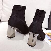 网红袜靴2018新款小跟短靴子女秋冬尖头粗高跟鞋瘦瘦靴百搭马丁靴