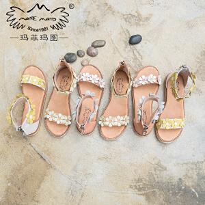 玛菲玛图罗马凉鞋女学生夏2018新款平底露趾休闲简约拉链低跟花朵沙滩凉鞋M198180882T9