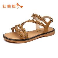 【红蜻蜓抢购,抢完为止】红蜻蜓女鞋夏季新款休闲平底露趾学生舒适防滑罗马凉鞋女