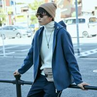 【5.16-5.17日抢购价:209.9】MECITY男装冬季羊毛双面呢连帽短款夹克外套