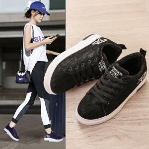 女式 女鞋休闲鞋百搭秋冬加绒内增高棉鞋加绒韩版运动鞋