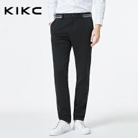 kikc休闲裤男2018秋季新款韩版潮流时尚简约青少年黑色长裤子男