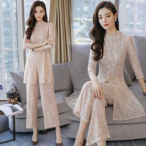 2018夏季新款韩版小香风气质显瘦蕾丝两件套时尚休闲阔腿裤套装潮